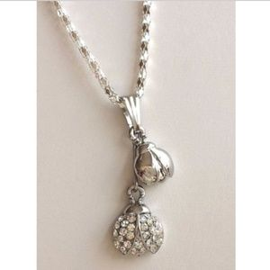 """Silver Crystal Ladybug Necklace 20"""" Insect"""